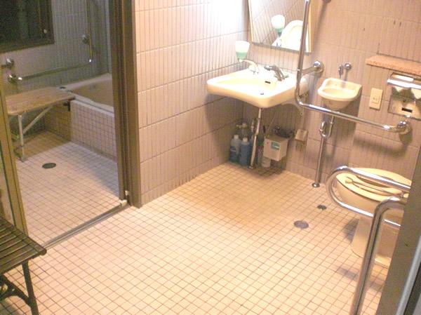 車いすトイレの奥にあるバリアフリーの温泉風呂の手前の画像 クリック・Enterで拡大