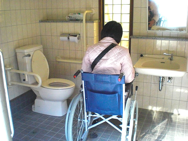駐車場の車いすトイレ内部の画像 クリック・Enterで拡大