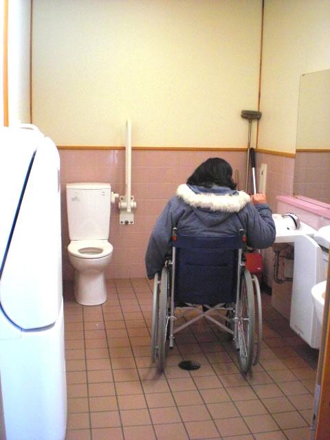 女性用車言いすトイレの内部 クリック・Enterで拡大